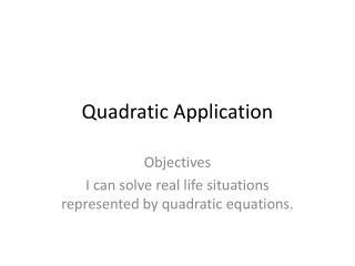 Quadratic Application