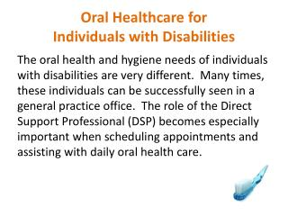 Oral Healthcare for  Individuals with Disabilities
