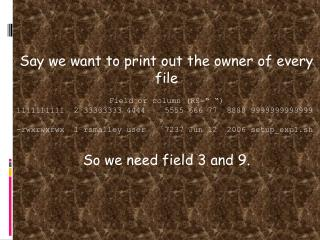 "Say we want to print out the owner of every file Field or column (RS="" "")"
