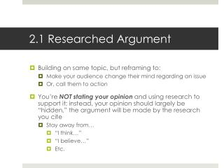 2.1 Researched Argument