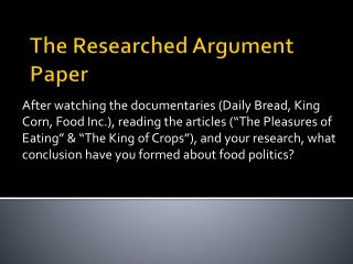 The Researched Argument Paper