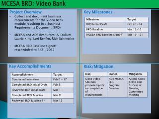 MCESA BRD: Video Bank