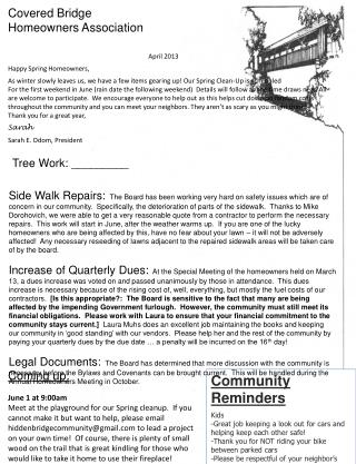 Covered Bridge Homeowners Association
