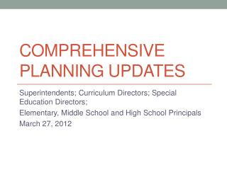 Comprehensive Planning Updates