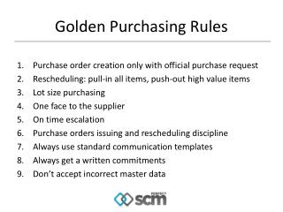Golden Purchasing Rules