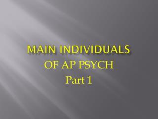 Main Individuals