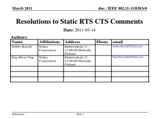 Resolutions to Static RTS CTS Comments