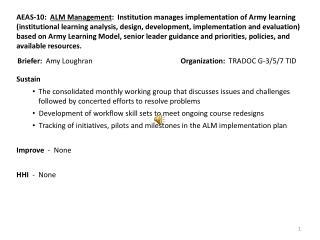 Briefer:   Amy Loughran Organization:   TRADOC G-3/5/7 TID