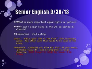 Senior English 9/30/13