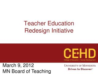 Teacher Education  Redesign Initiative