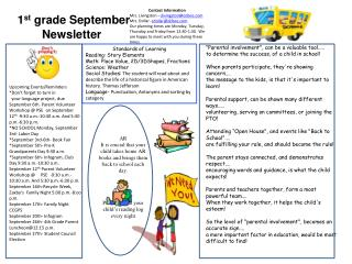 1 st  grade September  Newsletter