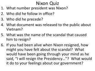 Nixon Quiz
