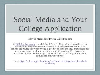 Social Media and Your College Application