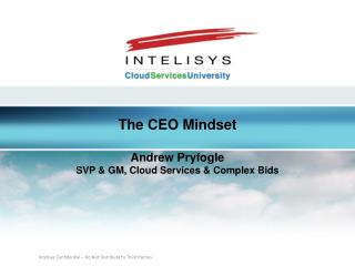 The CEO Mindset Andrew Pryfogle SVP & GM, Cloud Services & Complex Bids