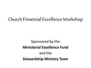 Church  Financial  Excellence Workshop