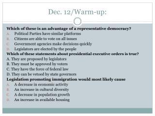 Dec. 12/Warm-up: