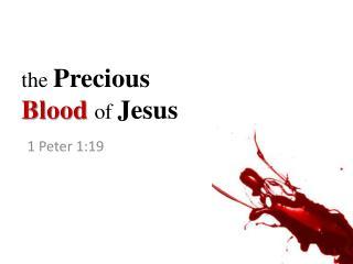 t he Precious  Blood of  Jesus