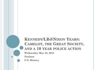 Kennedy/LBJ/Nixon Years: Camelot, the Great Society, and a 10 year police action