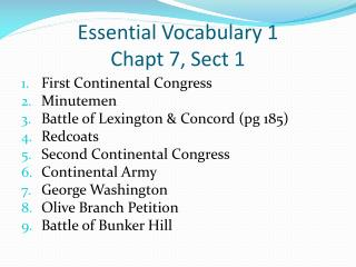 Essential Vocabulary 1  Chapt  7, Sect 1