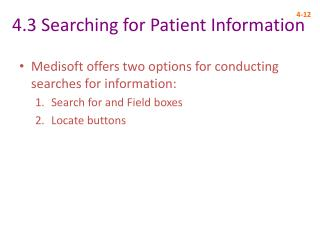 4.3 Searching for Patient Information