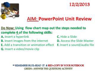 AIM:  PowerPoint Unit Review