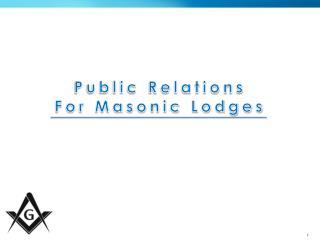 Public Relations For Masonic Lodges