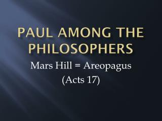 Paul among the philosophers