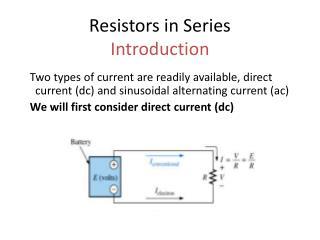 Resistors in Series Introduction