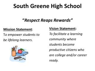 "South Greene High School "" Respect Reaps Rewards"""