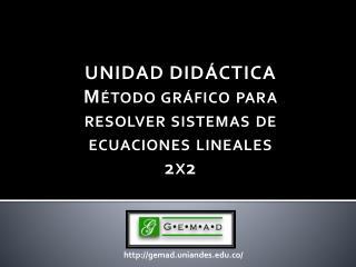 UNIDAD DIDÁCTICA Método  gráfico para resolver sistemas de ecuaciones lineales 2x2