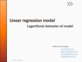 Linear regression model  Logarithmic  behavior  of model
