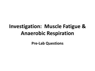 Investigation:  Muscle Fatigue & Anaerobic Respiration