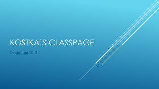 Kostka's classpage