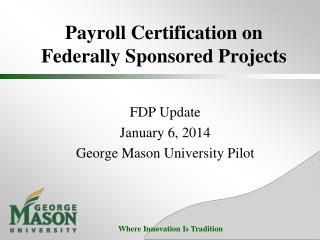 Payroll Certification on  Federally Sponsored Projects