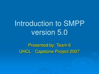 Introduction to SMPP version 5.0
