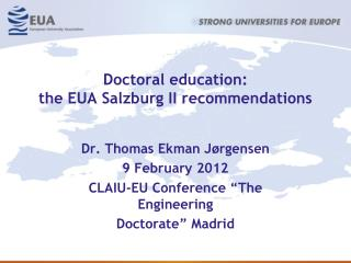 Doctoral education: the EUA Salzburg II recommendations