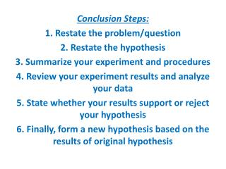 Conclusion Steps:  1. Restate the problem/question 2. Restate the hypothesis