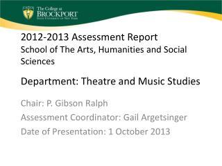 Chair: P. Gibson Ralph Assessment Coordinator: Gail Argetsinger