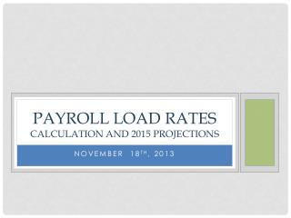 Payroll Load Rates  Calculation and 2015 Projections