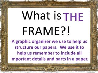 What is a FRAME?!