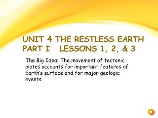Unit 4 The Restless Earth Part I   Lessons 1, 2, & 3