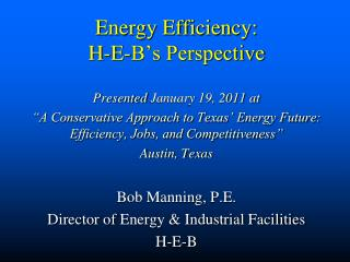 Energy Efficiency: H-E-B's Perspective