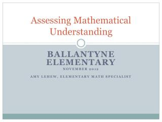 Assessing Mathematical Understanding