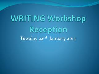 WRITING Workshop Reception