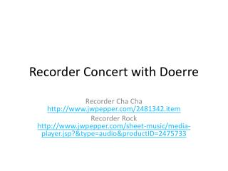 Recorder Concert with  Doerre