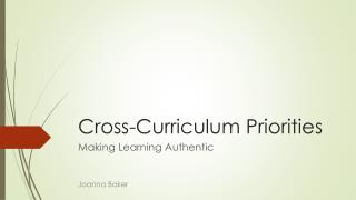 Cross-Curriculum Priorities