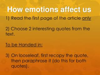 How emotions affect us