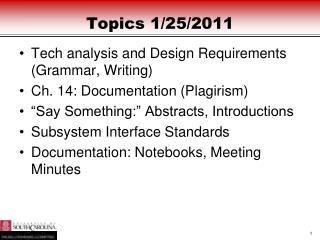 Topics  1/25/2011
