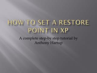 How to set a Restore Point in XP