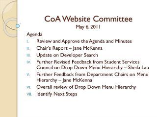 CoA Website Committee May 6 ,  2011